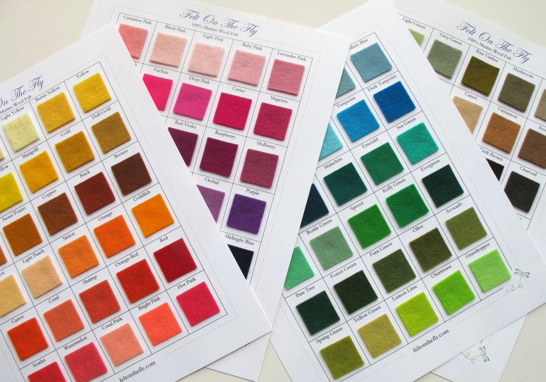 Swatch Catalog Wool Felt 100% Merino 1mm Thick Wool Sample