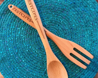 Zestcipes Bamboo Serving Spoon and Fork Set (1 of each)