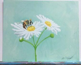 Print of Original painting Honeybee print Daisy print Wildflowers Pollinator print honeybee painting beekeeper painting beekeeping art