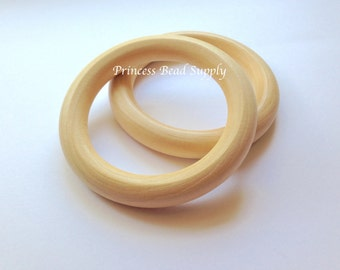 68mm Natural Wood Teething Rings,  Natural Unfinished Round Wood Teething Rings,  Natural Wooden Rings, Wood Circle Donut Teething Ring