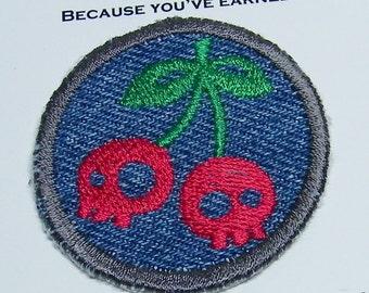 Subversive Skully Cherries Iron on Patch, merit badge