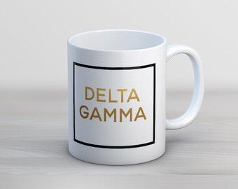 DG Delta Gamma Faux Foil Mug Sorority Coffee Mug