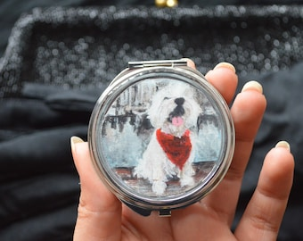 Pet Portrait Mirror Compact//Custom Hand Painted