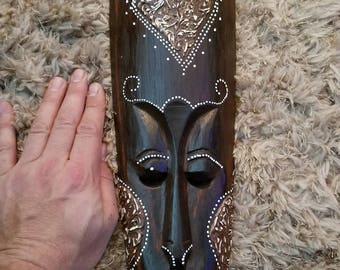 """Hand-Carved Wood Mask from Bali, Indonesia! Wall Art decor! Wood Carving 20"""" (F4)"""