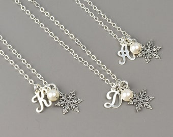 Snowflake Necklace SET OF 4 - 8% OFF Personalized Snowflake Bridesmaid Jewelry - Sterling Silver Custom Pearl and Initial Necklace