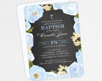 Baptism Invitation, Christening Invitation, Girl Baptism, Printable Baptism Invite, Floral, Watercolor Flower, Chalkboard, Blue, Camilla