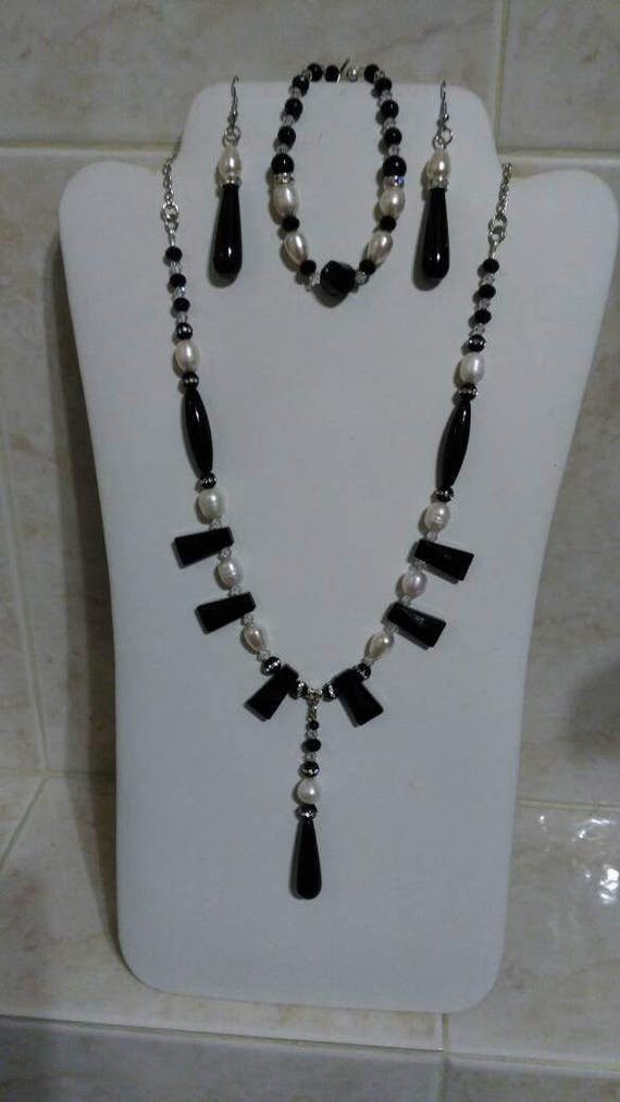 White Pearls and Black Agates.  3 piece jewelry suite