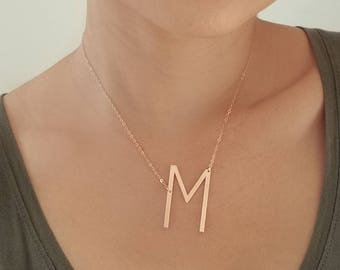 Large Initial Necklace YELLOW GOLD - Oversized Letter Necklace