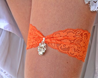 Orange Garter Set, Lace Garter Orange, Rhinestone Garter, Brides Garter Set, Garter Belt, Retro Garter, Garter Set Wedding, Bridal Jewelry
