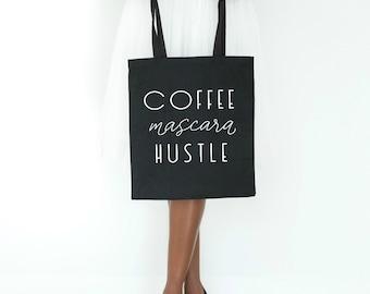 girl boss canvas tote bag coffee mascara hustle black tote bag gift for her boss babe boss lady goal digger hustle entrepreneur