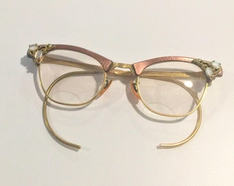 dbc668c95c0 Vintage Cat s Eye Glasses Artcraft 1 10 12K GF Etched Gold Rhinestones  Pearlescent Cabochons Rose