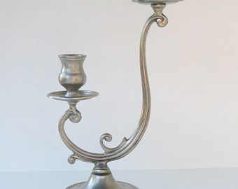 """Vintage french pewter 2 lights candlestick candle holder - Height 30 cm  / 11.75"""" - France - etain 95%"""