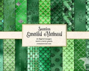 Emerald Green Mermaid Digital Paper, seamless mermaid scales, green mermaid backgrounds, seamless mermaid patterns, fish scales backgrounds