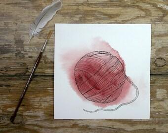 Red Yarn Painting- 7x7- Original Watercolor  Pen Ink- Watercolour Painting- Pen and Ink Drawing- Yarn-  Red, White