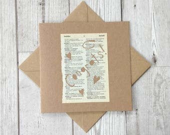 Engagement card, Betrothed Card, Dictionary Greeting Card, Upcycled Book Greeting Card, Recycled Card