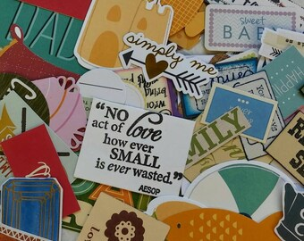 125 Die cuts Paper Embellishments Printed Sentiments Borders Images Card Making Scrapbooking Pocket Letters