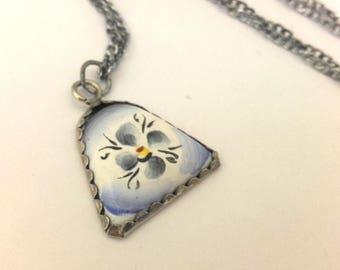 Vintage Russian Finift Финифть Enamel Pendant With Metal Chain Necklace  #296