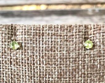 Sterling Silver Peridot Earrings | Peridot Stud Earrings | Peridot Gemstone Earrings | Sterling Silver Earrings | August Birthstone Earrings