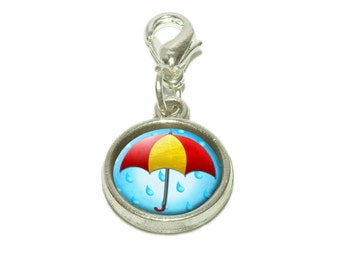 Umbrella In Rain Dangling Bracelet Pendant Charm