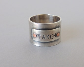 Wide Band Personalized Sterling Silver Ring - Taken Ring