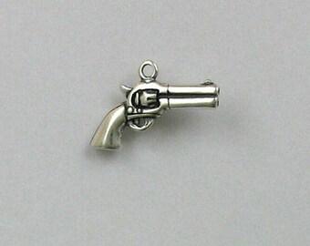 Sterling Silver 3-D Revolver Charm