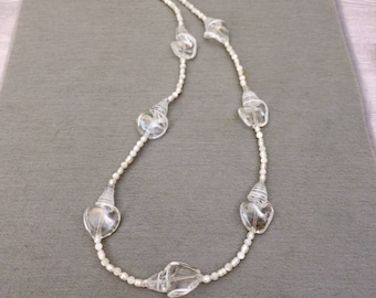 Crystal Glass Bead Necklace Large Bead Statement Necklace Clear Bead Necklace White Necklace Contemporary Necklace Wife Gift For Her For Mom
