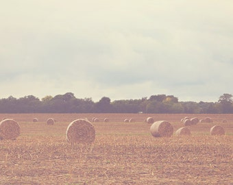 Hay Field Color Photo Print { bales, brown, gloomy, rainy, sky, blue, landscape, clouds, wall art, macro, nature & fine art photography }