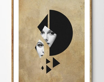 Art Deco Print, Mixed Media Collage Art, Geometric Art, Vintage Photo Woman, Surreal Art, Portrait // Fixation