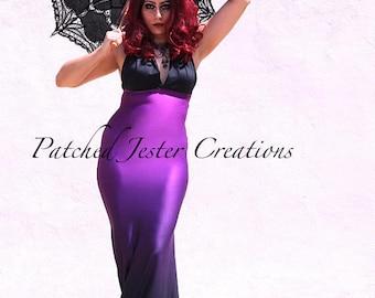Gothic Dress - Mermaid Purple Dress - Steampunk Gothic Dress - Halloween Dress