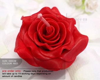 10x Rose floating candles 6cm size - Red Rose