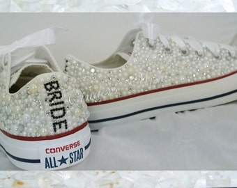 Luxury pearl sparklers / All over converse / Bridal converse / Wedding converse / pearl converse / customised converse/ prom converse /