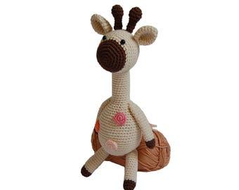 Crochet Giraffe- Crocheted Giraffe, Newborn Giraffe Gift, Newborn Shower Gift, Amigurumi Giraffe