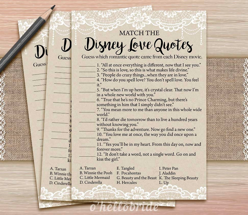 Printable Love Quotes Disney Love Quotes Match Game Printable Rustic Lace Burlap