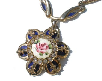 """Blue Flower Guilloche Necklace with Rhinestones on Gold Tone - 16"""" Necklace Vintage Jewelry"""
