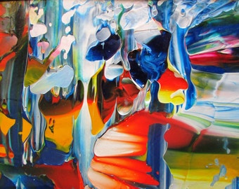 Abstract Mountain Water Fall Acrylic Original Painting