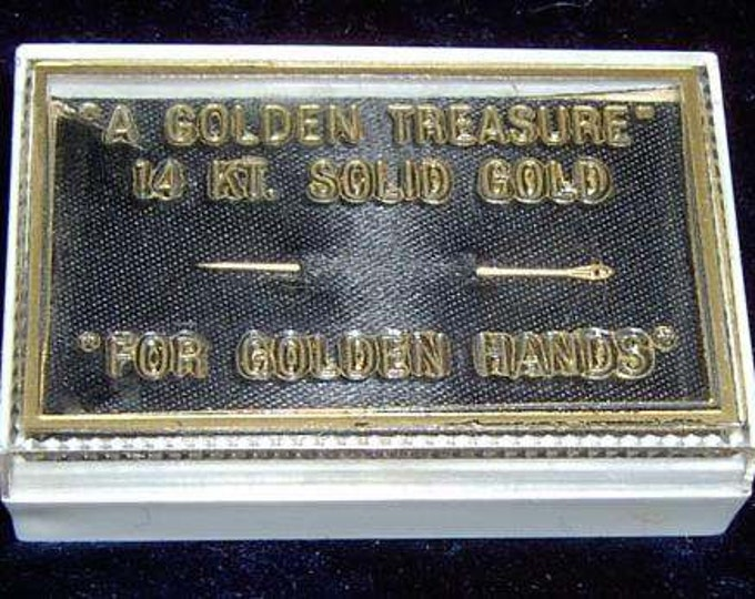 "Vintage...14k Solid Gold Sewing Needle ""A Golden Treasure"" ""For Golden Hands"" & Case"
