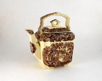 Kettle and Lid, Rare Mason's Ironstone China Teapot, Transferware Vista Brown Pattern, Earthenware, England, Vintage