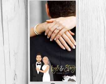 Wedding Snapchat Filter with Wedding Portrait CLOSEUP - Custom Wedding Geo Snapchat Filter, Custom Snapchat Filter Geotag Filter