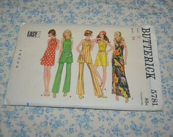 60s Butterick 5781 Misses One Piece Dress or Tunic and Pants  Sewing Pattern - UNCUT - Size 12 Bust 34