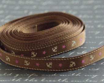 50cm of Ribbon Brown grosgrain Ribbon and anchor marine/star 10mm