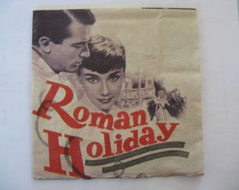 set of 2 ROMAN HOLIDAY paper napkins
