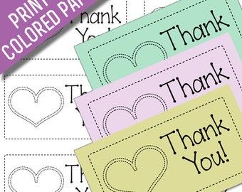 Made With Love Thank You Card Printables: Black Line Art to Print on Colored Paper Matching Laundry Care Tags