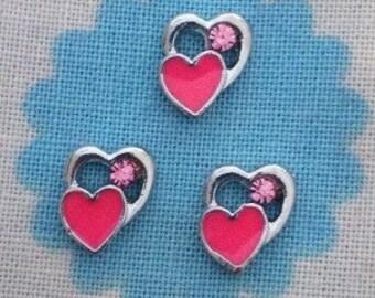 Cute pink double heart floating locket charm