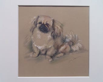 "Pekinese dog print by Lucy Dawson dated 1935 in 9""x9"" mount ready to frame"