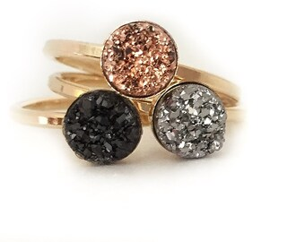 Druzy Ring Rose Gold, Rose Gold Druzy Ring, Genuine Quartz Druzy Stone Size 6mm