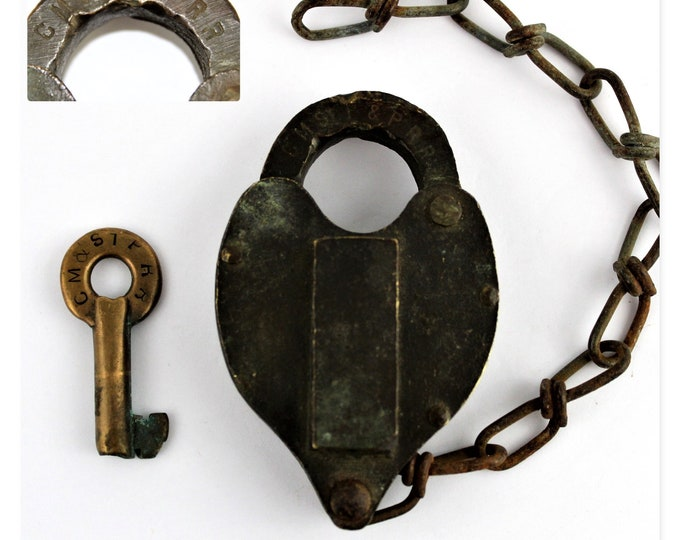1956 Hansel Brass Padlock with Matching Key CM ST P & P RR Chicago, Milwaukee, St. Paul and Pacific Railroad, Switch Lock