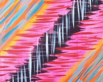 """Pink, Orange, Red, Blue, Black and White Original Acrylic Abstract Painting on Canvas """"Series 5 LXXIX"""" Wall Art, Home Decor, Interior Design"""