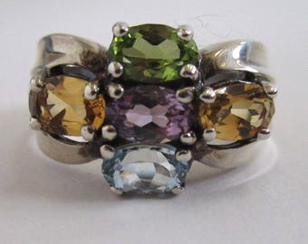 Sterling Silver Citrine, Amethyst, Aquamarine and Peridot Ring