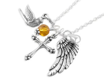 Remembrance Necklace. Memorial Jewelry. Personalized. sympathy gifts. Sterling silver. birthstone, heart, in memory angel wing, cross DOVE