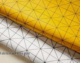 Geometric Cotton Fabric, Diamond Plaid Cotton, Yellow White Cotton With Black Geometry Pattern- 1/2 Yard